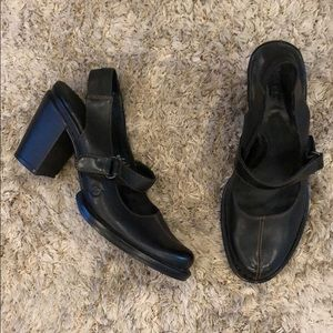 Born Mandrill Black Leather Slingback Heeled Mules